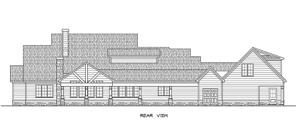 Craftsman, Traditional House Plan 60069 with 5 Beds, 5 Baths, 3 Car Garage Rear Elevation