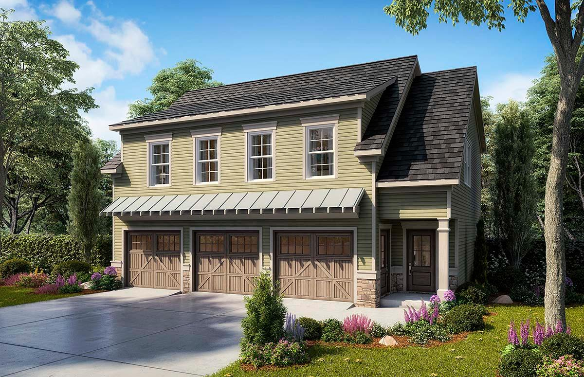 Country, Craftsman, Traditional Garage-Living Plan 60079 with 2 Beds, 3 Baths, 3 Car Garage Elevation