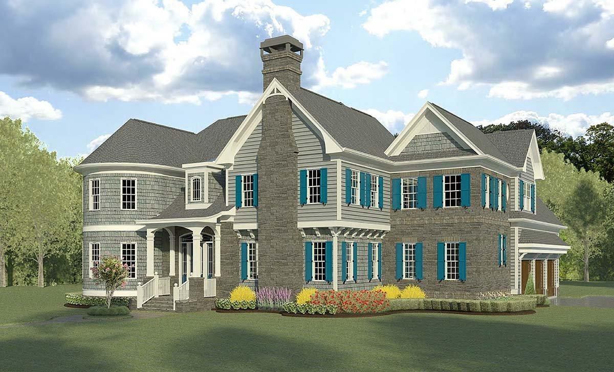 Cape Cod, French Country, Traditional House Plan 60090 with 4 Beds, 5 Baths, 3 Car Garage Elevation