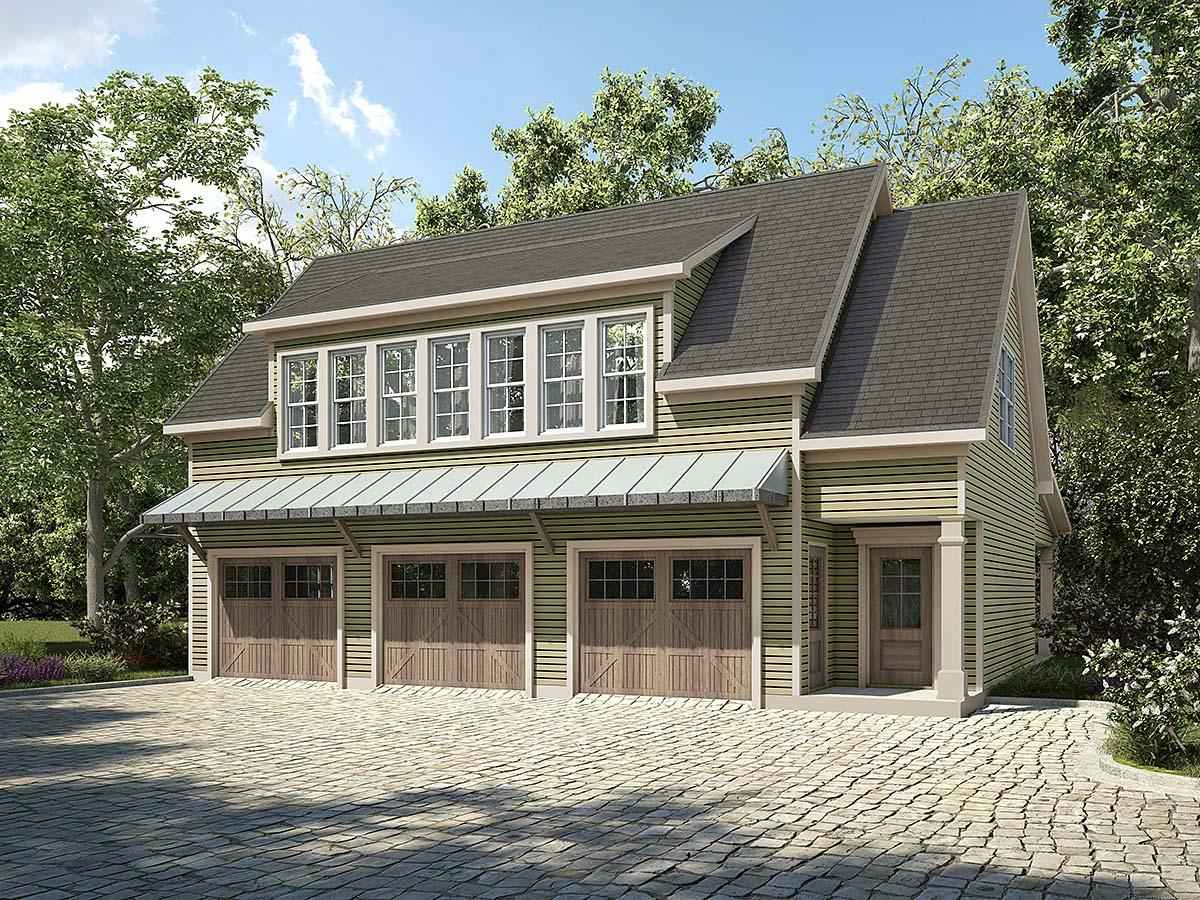 Country, Craftsman, Traditional Garage-Living Plan 60092 with 2 Beds, 2 Baths, 3 Car Garage Elevation