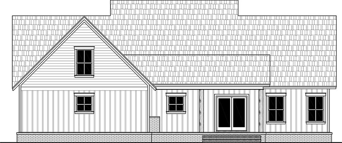 Country, Farmhouse, Ranch House Plan 60109 with 3 Beds, 3 Baths, 2 Car Garage Rear Elevation