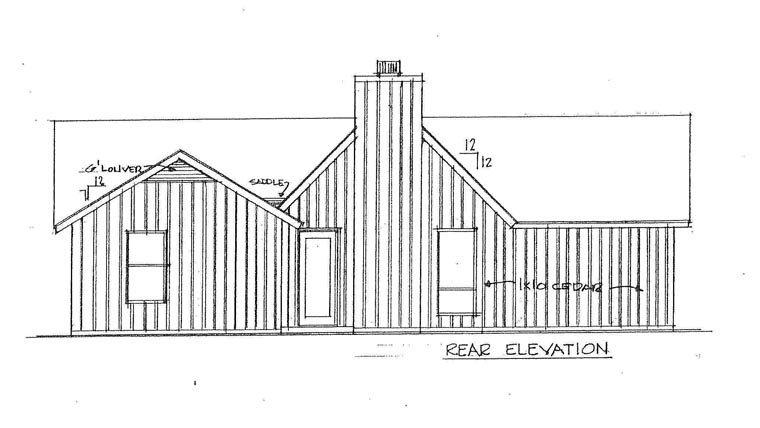 House Plan 60632 with 3 Beds, 2 Baths Rear Elevation