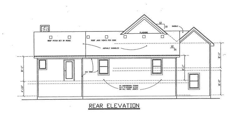 House Plan 60638 with 4 Beds, 3 Baths, 3 Car Garage Rear Elevation