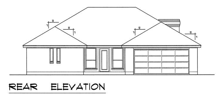 European, Traditional House Plan 60829 with 3 Beds, 2 Baths, 2 Car Garage Rear Elevation