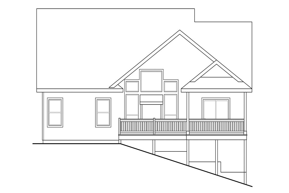 Contemporary, Cottage, Country, Craftsman House Plan 60958 with 3 Beds, 3 Baths, 2 Car Garage Rear Elevation