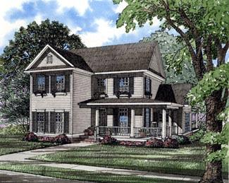 Country, Farmhouse, Southern House Plan 61001 with 4 Beds, 3 Baths, 2 Car Garage Elevation