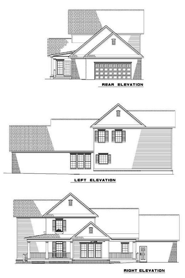 Country, Farmhouse, Southern House Plan 61001 with 4 Beds, 3 Baths, 2 Car Garage Rear Elevation