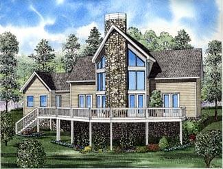 A-Frame, Coastal, Contemporary House Plan 61290 with 2 Beds, 2 Baths, 1 Car Garage Elevation