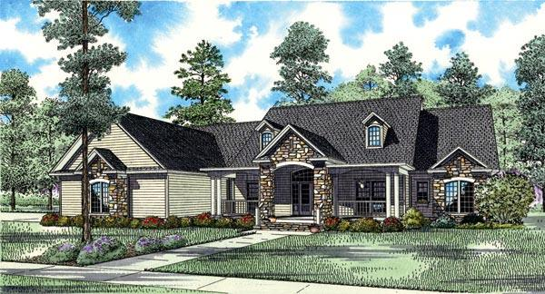 Country, Craftsman, Traditional House Plan 61323 with 4 Beds, 4 Baths, 4 Car Garage Elevation