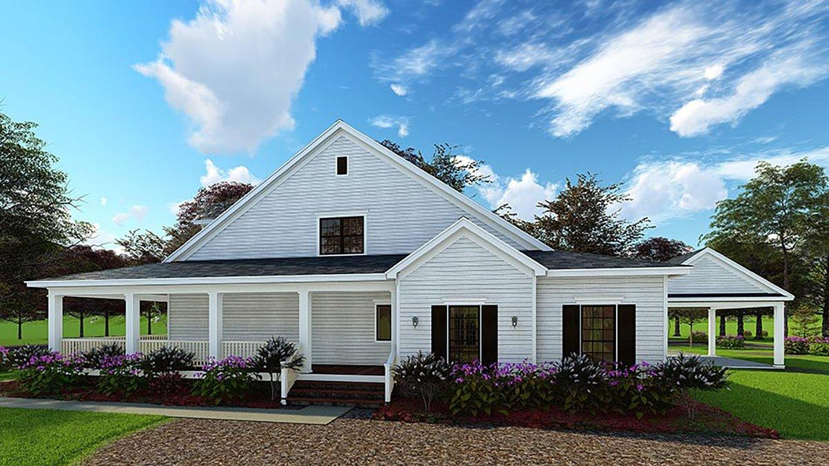 Country, Farmhouse, Southern House Plan 62032 with 4 Beds, 3 Baths, 2 Car Garage Rear Elevation