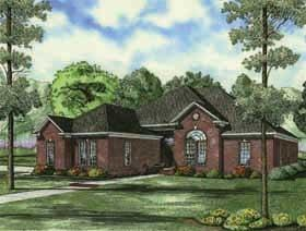 European, Traditional House Plan 62166 with 3 Beds, 2 Baths, 2 Car Garage Elevation