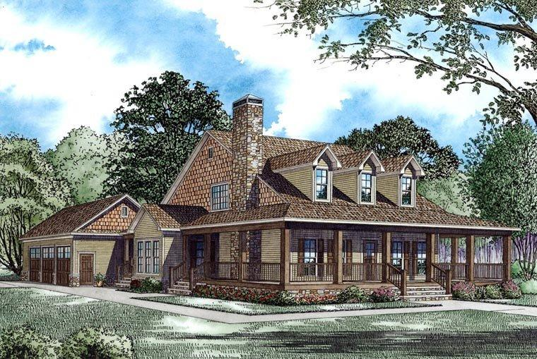 Country, Farmhouse House Plan 62207 with 4 Beds, 3 Baths, 3 Car Garage Elevation