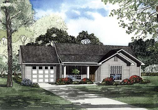 House Plan 62276 with 3 Beds, 2 Baths, 1 Car Garage Elevation