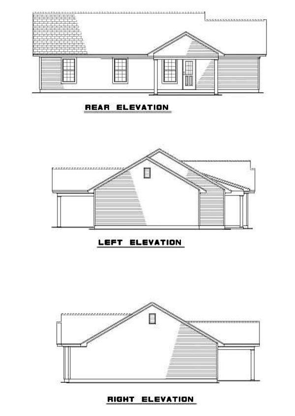 House Plan 62276 with 3 Beds, 2 Baths, 1 Car Garage Rear Elevation