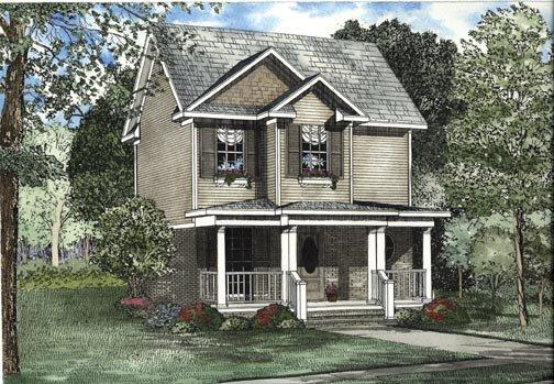 Narrow Lot House Plan 62323 with 2 Beds, 3 Baths Elevation