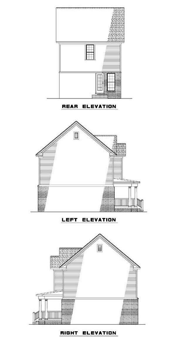 Narrow Lot House Plan 62323 with 2 Beds, 3 Baths Rear Elevation