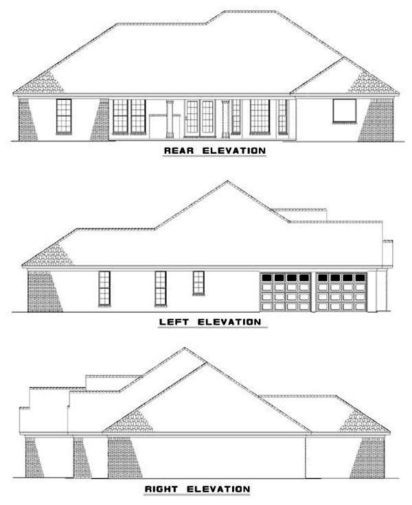One-Story House Plan 62346 with 4 Beds, 3 Baths, 2 Car Garage Rear Elevation