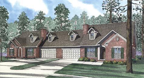Multi-Family Plan 62363 with 6 Beds, 8 Baths, 4 Car Garage Elevation