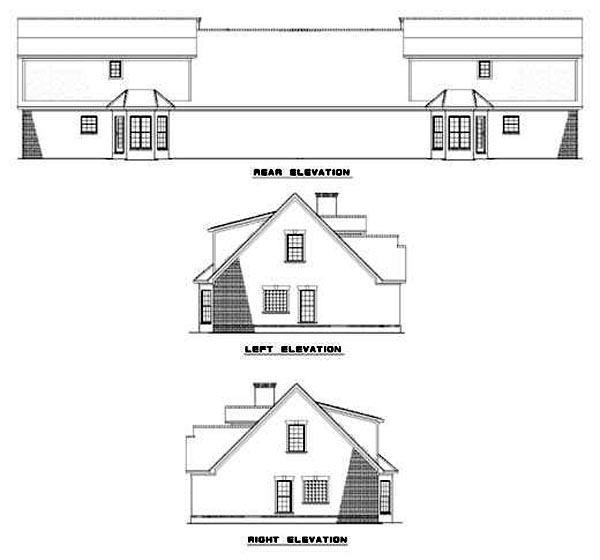 Multi-Family Plan 62363 with 6 Beds, 8 Baths, 4 Car Garage Rear Elevation