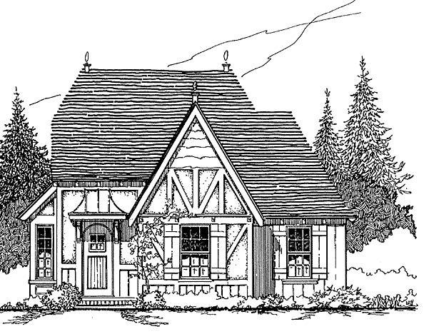 Cottage House Plan 62415 with 3 Beds, 1 Baths Elevation