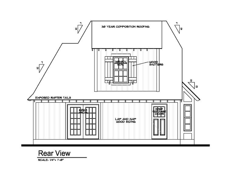 Cottage House Plan 62415 with 3 Beds, 1 Baths Rear Elevation