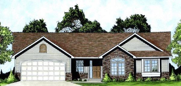 One-Story, Traditional House Plan 62550 with 3 Beds, 2 Baths, 2 Car Garage Elevation