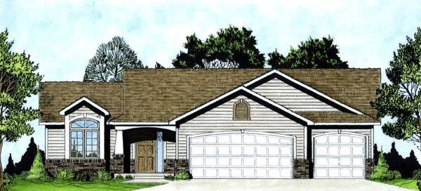 One-Story, Traditional House Plan 62551 with 3 Beds, 2 Baths, 3 Car Garage Elevation