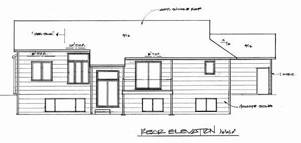 European, One-Story House Plan 62554 with 3 Beds, 2 Baths, 3 Car Garage Rear Elevation
