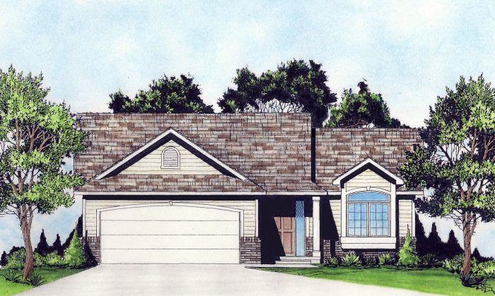 Traditional House Plan 62629 with 2 Beds, 2 Baths, 2 Car Garage Elevation