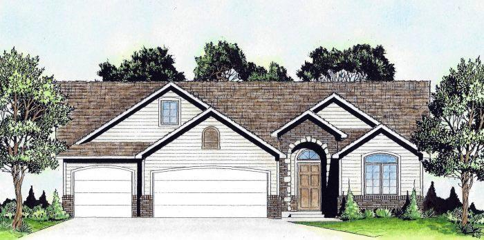 Traditional House Plan 62642 with 2 Beds, 2 Baths, 3 Car Garage Elevation