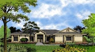 Contemporary, Florida, Mediterranean, One-Story House Plan 63206 with 3 Beds, 2 Baths, 2 Car Garage Elevation