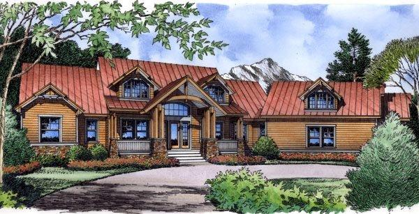 Craftsman, Traditional House Plan 63363 with 4 Beds, 4 Baths, 2 Car Garage Elevation