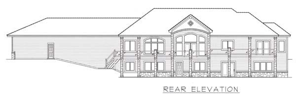 European House Plan 63548 with 4 Beds, 6 Baths, 3 Car Garage Rear Elevation