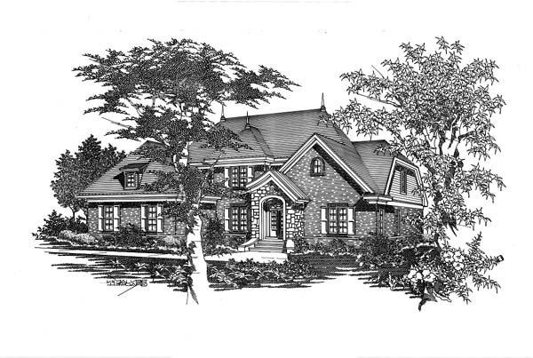 House Plan 63705 with 4 Beds, 3 Baths, 3 Car Garage Elevation