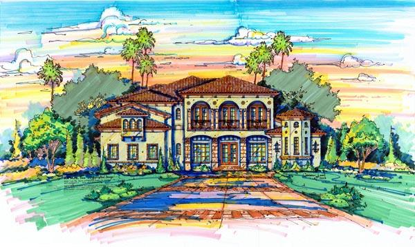 Florida, Mediterranean House Plan 64719 with 5 Beds, 7 Baths, 4 Car Garage Elevation