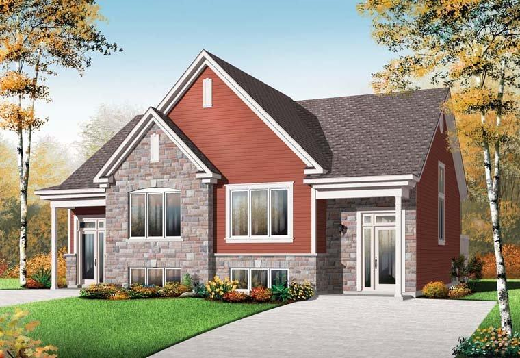 Craftsman Multi-Family Plan 64923 with 6 Beds, 4 Baths Elevation