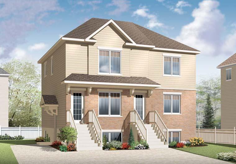 Multi-Family Plan 64936 with 6 Beds, 3 Baths Elevation