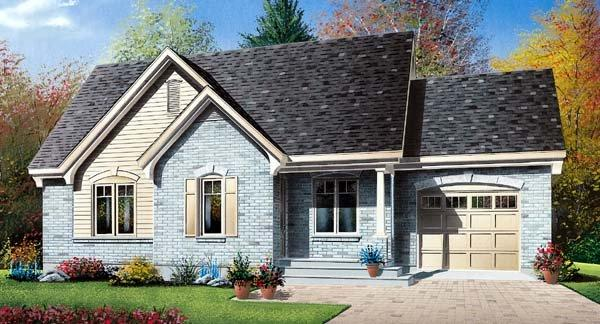 Narrow Lot, One-Story House Plan 64955 with 2 Beds, 1 Baths, 1 Car Garage Elevation
