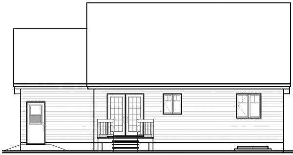 Narrow Lot, One-Story House Plan 64955 with 2 Beds, 1 Baths, 1 Car Garage Rear Elevation