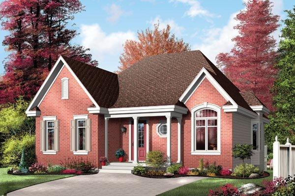 Narrow Lot, One-Story, Traditional House Plan 64995 with 2 Beds, 1 Baths Elevation