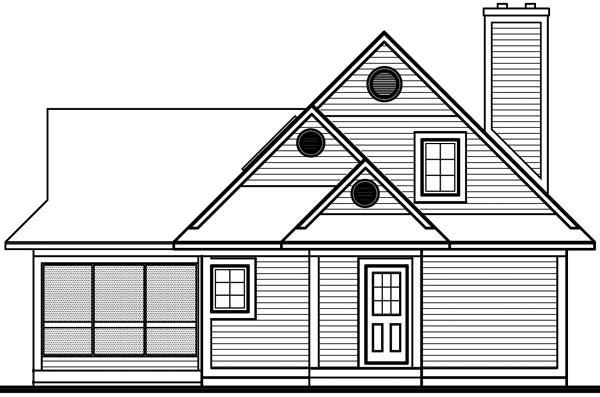 Country, Craftsman House Plan 65002 with 2 Beds, 2 Baths Rear Elevation