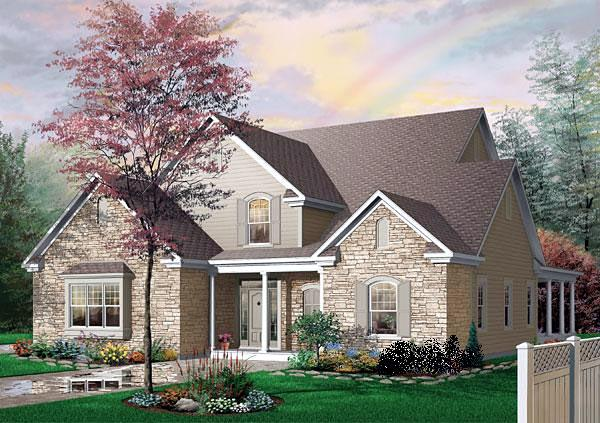 Traditional House Plan 65102 with 4 Beds, 3 Baths, 3 Car Garage Elevation