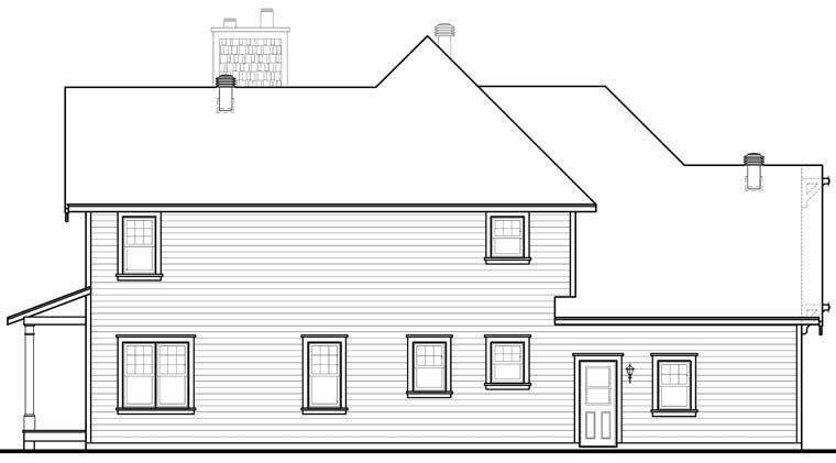 Country, Craftsman, Farmhouse House Plan 65231 with 3 Beds, 3 Baths, 2 Car Garage Rear Elevation