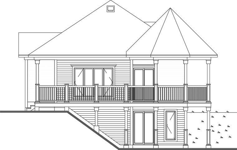 Bungalow, Cabin, Coastal, Country, Victorian House Plan 65263 with 1 Beds, 1 Baths Rear Elevation