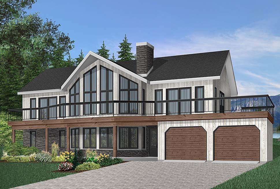 Contemporary, Craftsman House Plan 65269 with 4 Beds, 3 Baths, 2 Car Garage Elevation