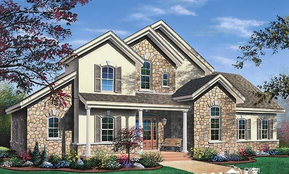 Contemporary, Traditional House Plan 65368 with 3 Beds, 3 Baths, 2 Car Garage Elevation