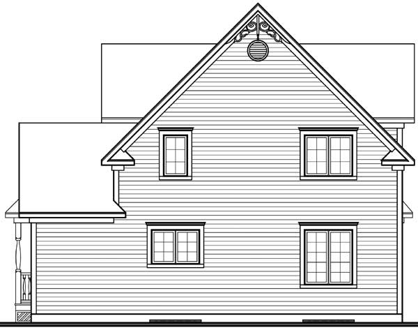 Country, Farmhouse, Southern, Victorian House Plan 65377 with 3 Beds, 2 Baths Rear Elevation