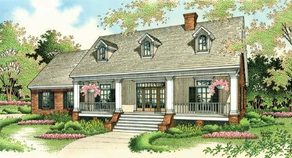 Colonial, Country, Southern House Plan 65622 with 3 Beds, 2 Baths, 2 Car Garage Elevation