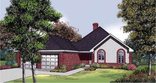 One-Story, Traditional House Plan 65695 with 2 Beds, 2 Baths, 2 Car Garage Elevation