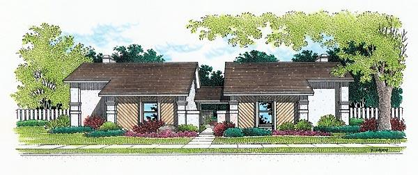 Florida, One-Story Multi-Family Plan 65708 with 4 Beds, 4 Baths Elevation